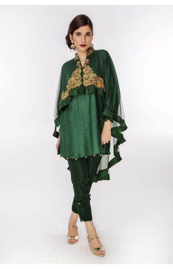 Green Cape Net with body embroidery