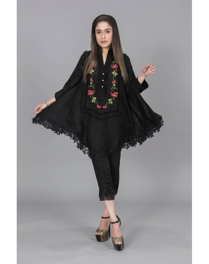 Black with Red Floral neck Embroidery
