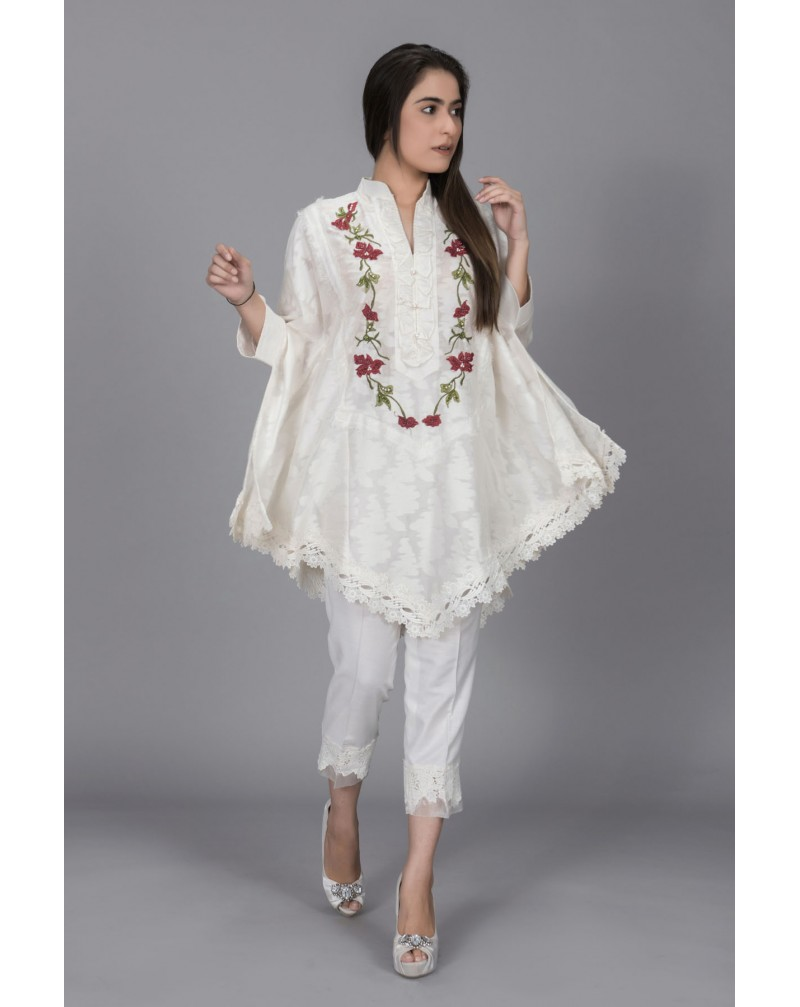 White Cotton Net with Floral Body Embroidery
