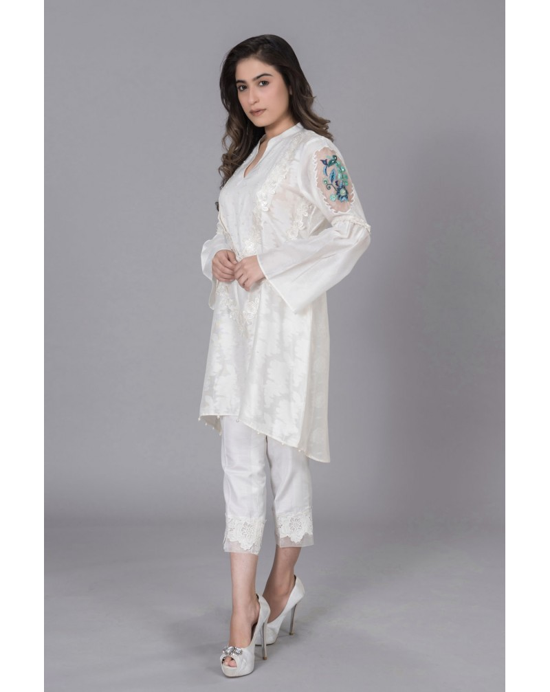 White Cotton Net with Lace Body