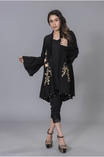 Black Jacket with Ribbon Embroidery