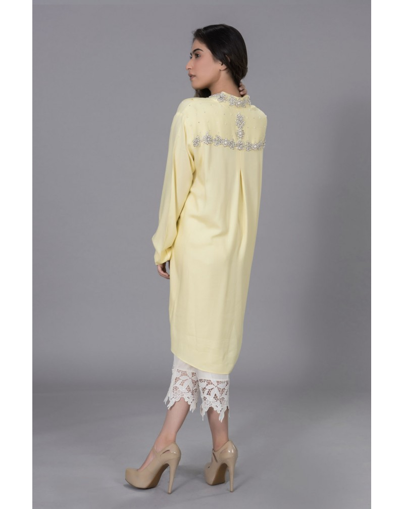 Lemon Yellow Crepe with Pearls embroidery