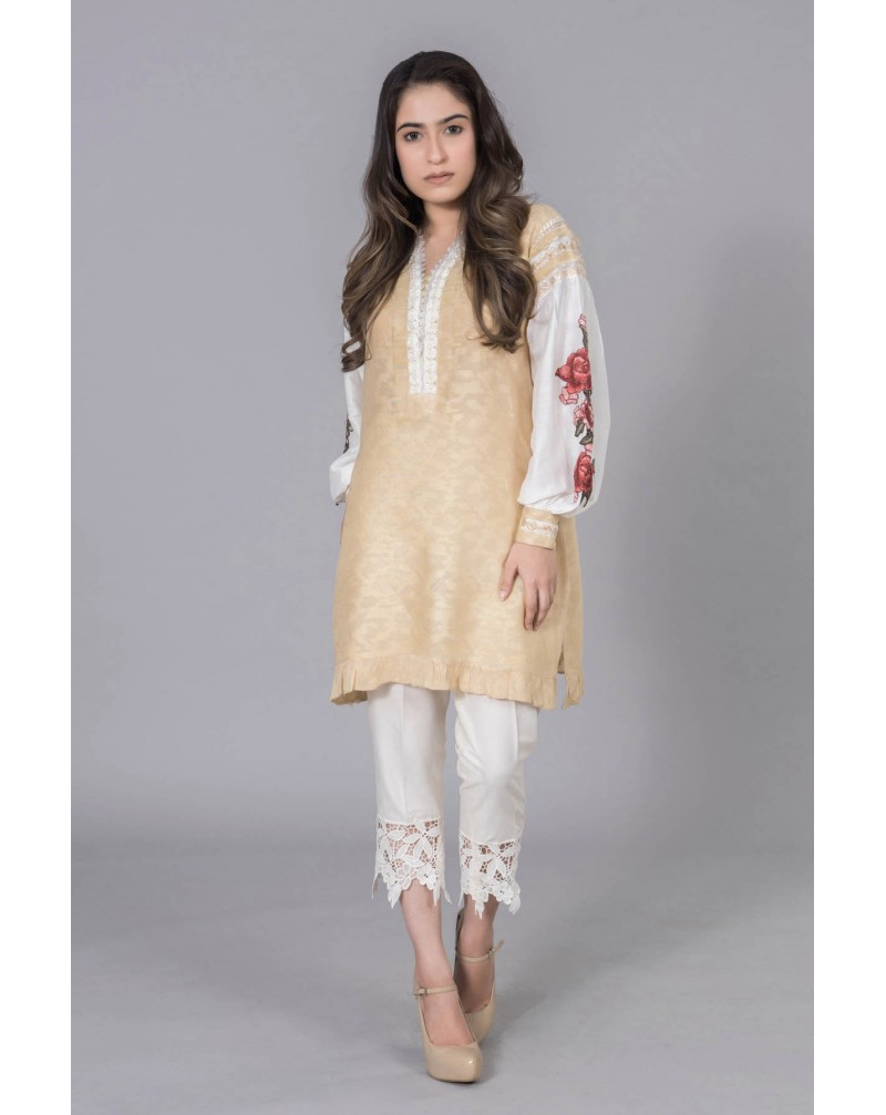 Beige Cotton Net with Floral sleeves embroidery