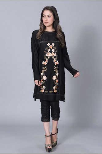 Black Cotton Net with Front pastel Embroidery
