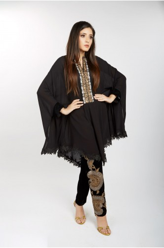 JV Pret Black crepe Georgette poncho shirt with body hand embroidery - JV Couture