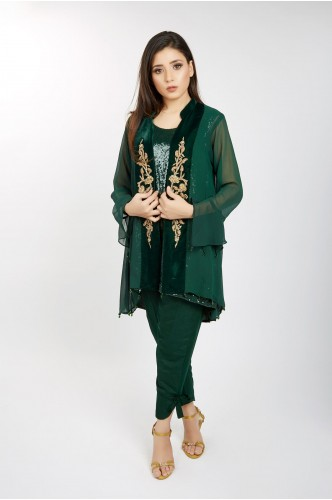 JV Pret Emerald Green Chiffon Jacket with Velvet embroidery and Raw silk  knotted bottom trouser  - JV Couture