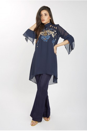 JV Pret Navy Blue Georgette shirt with Kriss Kross shoulder and Raw silk trouser - JV Couture