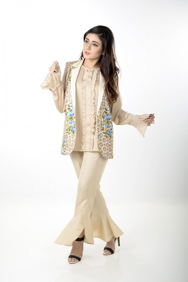 JV Pret Ivory floral embroidered jacket, raw silk trouser with ruffled bottom  and frill front silk shirt - JV Couture