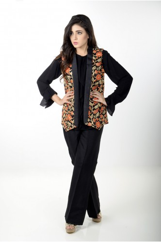 JV Pret Black embroidered Jacket, Raw Silk trouser and crepe linen ruffle shirt -  JV couture