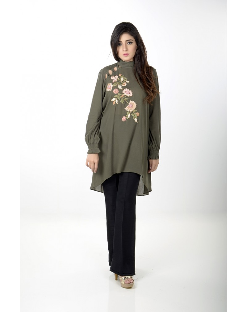 JV Pret  Army green crepe linen shirt with kriss kross shoulder  - JV Couture