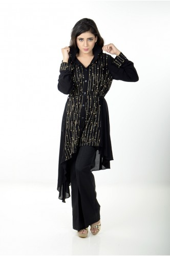 JV Pret Black crepe linen A-symmetrical shirt with pearl front - JV Couture