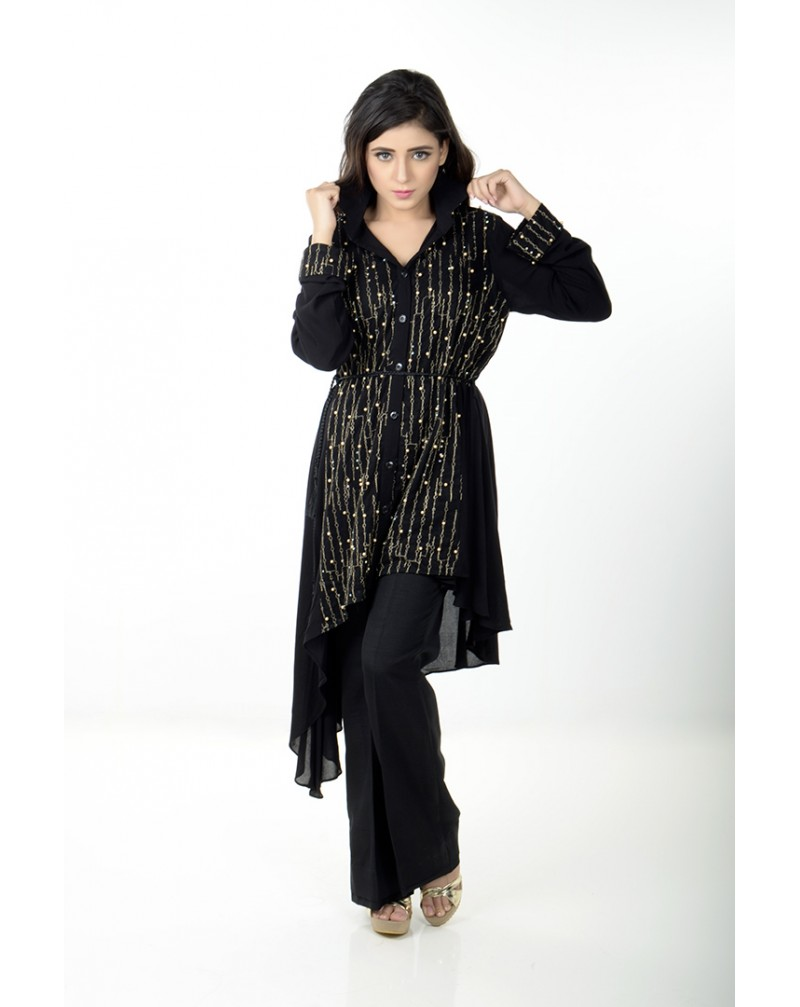 JV Pret Black crepe linen A-symmetrical shirt with pearl front - JV Couture