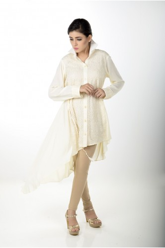 JV Pret Off-white crepe linen A-symmetrical shirt with crochet lace front -  JV Couture