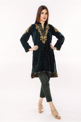 Emerald Green Velvet with V Body embroidery