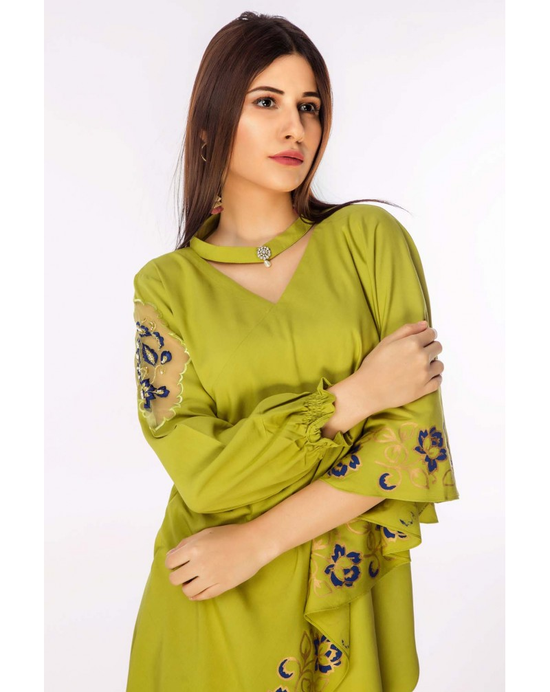 Lime Green side drop linen with choker