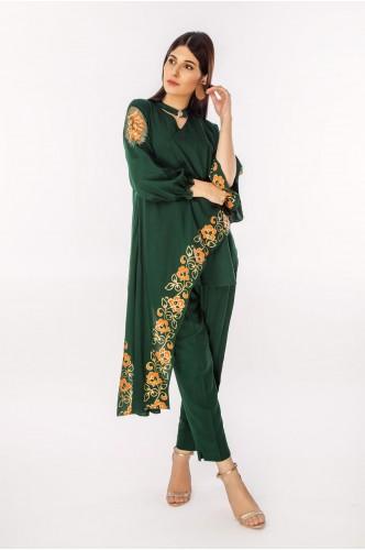Emerald Green linen with Choker