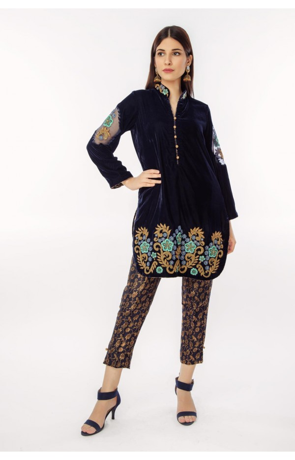 Navy Blue Velvet with daman embroidery