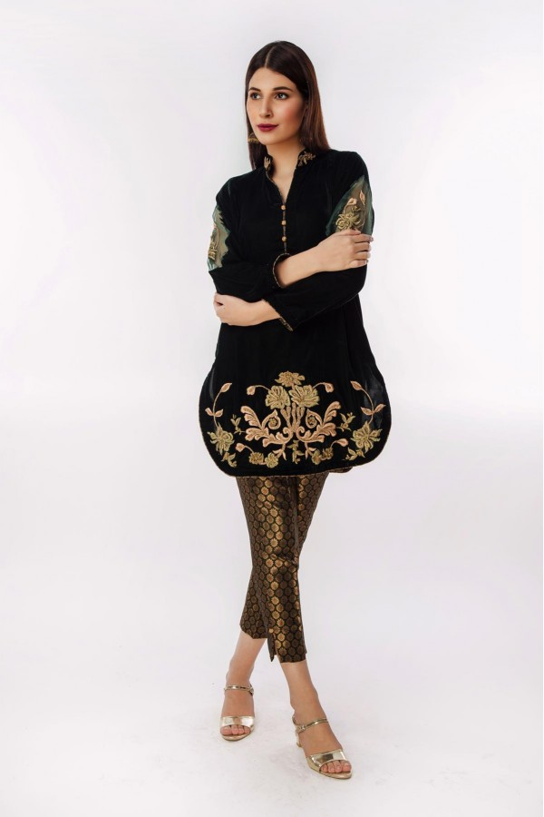 Emerald Green Velvet with daman embroidery