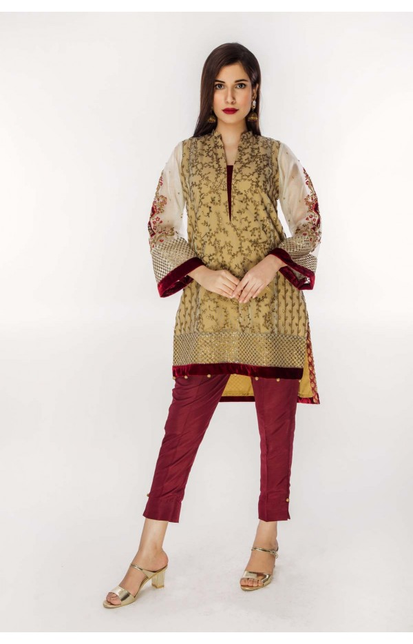 Khaadi Net with sleeves embroidery