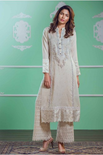 Long Slit OffWhite Lace Net Shirt  with Body emb