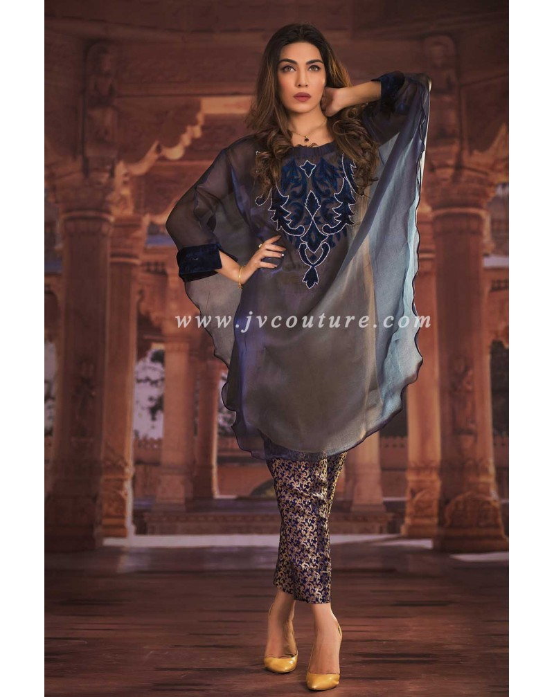 Royal Blue Shimmer Shirt with Raw Silk Trouser