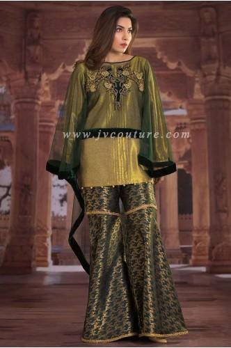 Bottle Green Net/Velvet with Jamawar Trouser