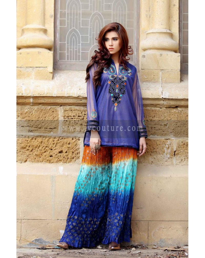 Royal Blue shimmer with crush trouser