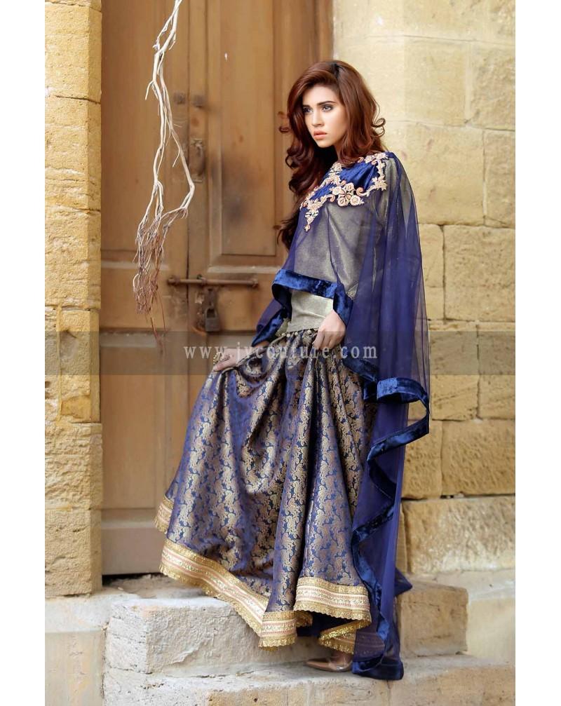 Royal Blue cape net with Jamawar Lengha
