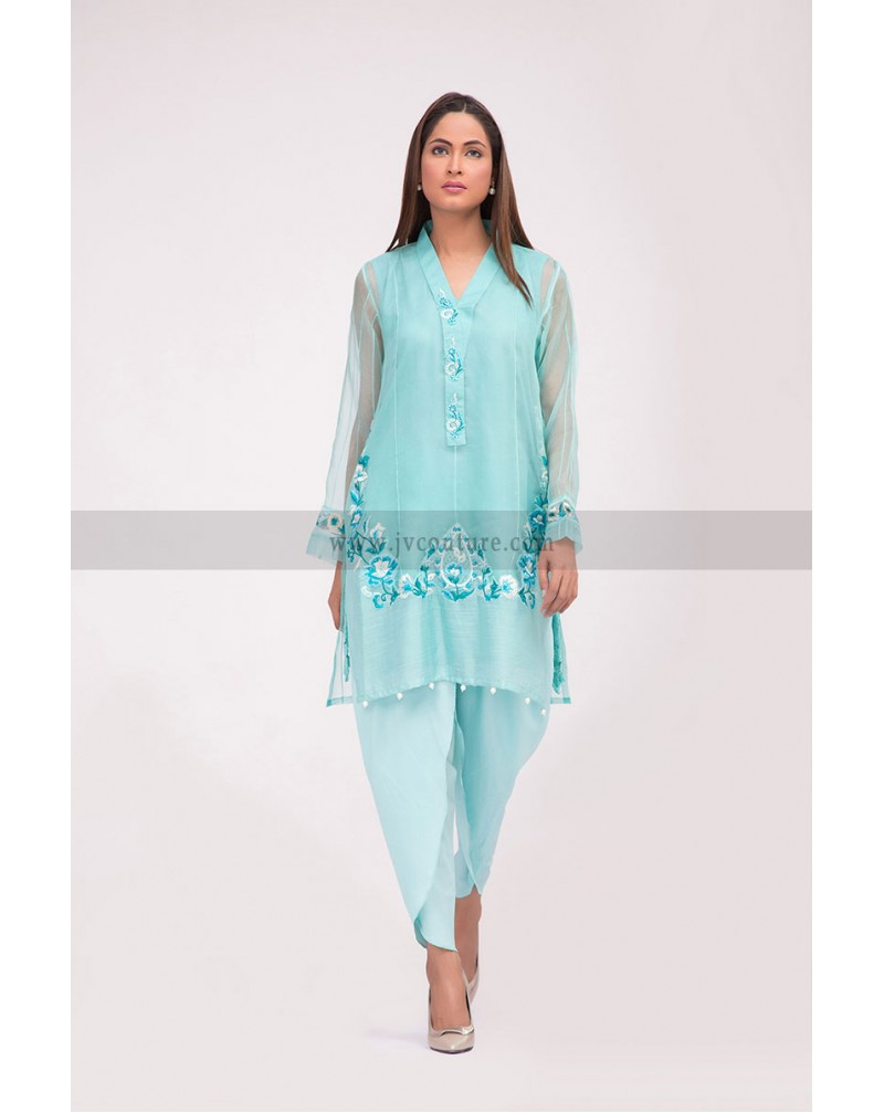 Blue Organza Shirt & Synthetic Silk Tulip Trouser