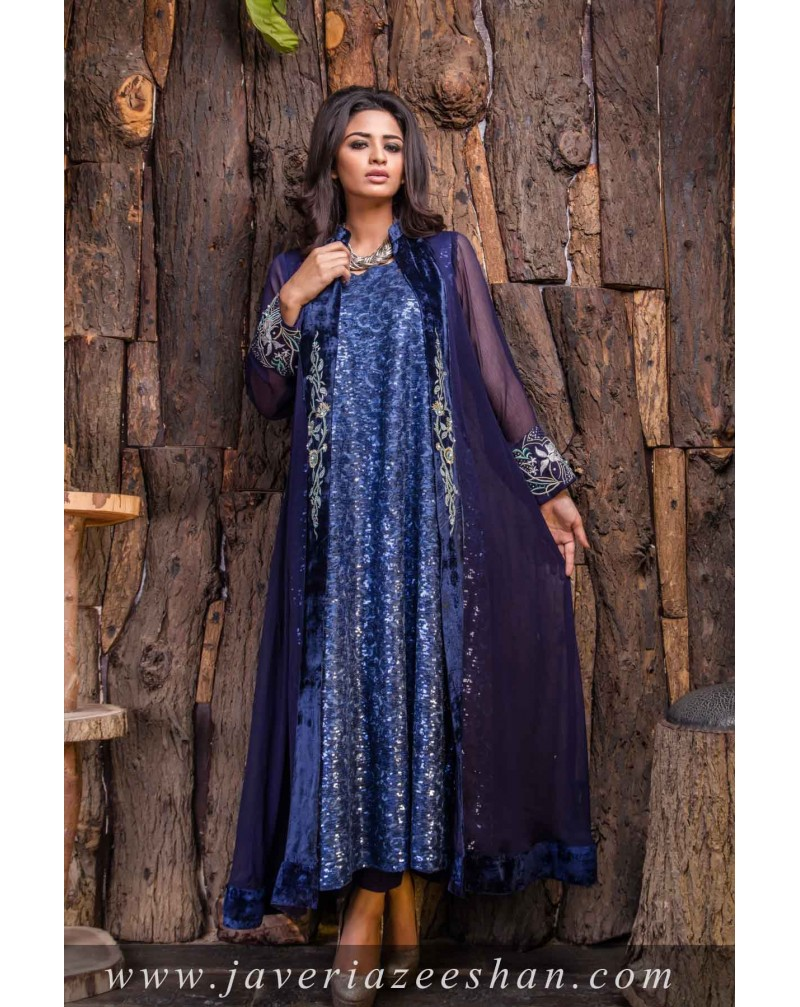 Blue Chiffon Coat with Sequence inner