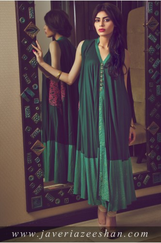 Green Block Print with pink flower Malai Lawn