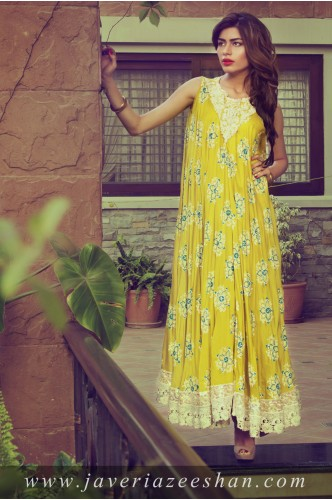 Yellow Blockprint with lace neck Top