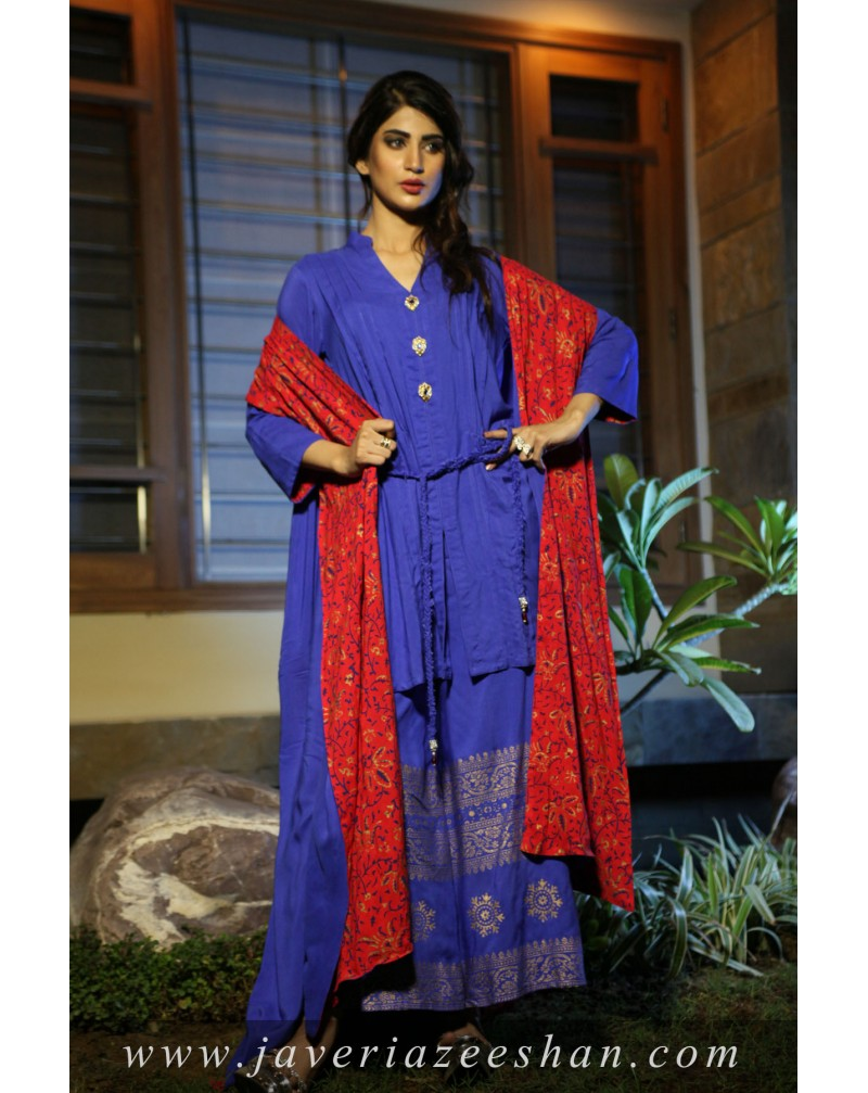 Red/ Blue Block Printed Top with Malai Cape