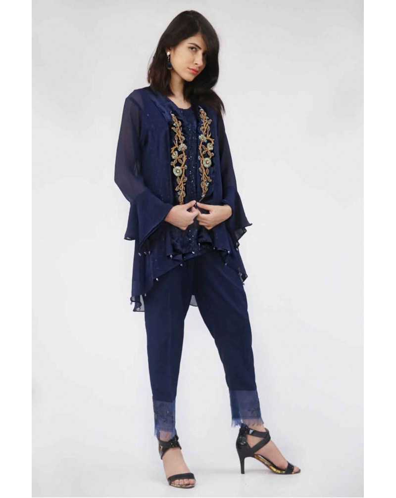 JV Pret Royal Blue Chiffon Jacket with Velvet embroidery and Raw silk  knotted bottom trouser  - JV Couture